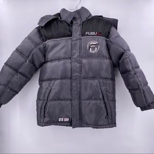 Fubu The Collection Gray Black Kids Puffer Jacket